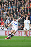 Owen Farrell (c) of England takes a kick during the Guinness Six Nations match between England and Ireland at Twickenham Stadium on Sunday 23rd February 2020 (Photo by Rob Munro/Stewart Communications)