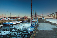 The Forth Rail Bridge and the Firth of Forth from Queensferry Harbour, Queensferry, Lothian