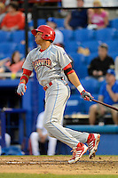Clearwater Threshers outfielder Aaron Altherr #22 during a game against the Dunedin Blue Jays at Florida Auto Exchange Stadium on April 4, 2013 in Dunedin, Florida.  Dunedin defeated Clearwater 4-2.  (Mike Janes/Four Seam Images)