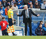 Mark Warburton has a friendly chat with the linesman