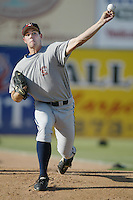Jon Switzer of the Bakersfield Blaze throws in the bullpen before a California League 2002 season game against the Lancaster JetHawks at The Hanger, in Lancaster, California. (Larry Goren/Four Seam Images)