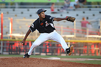 Aaron Phillips (45) of the Salem-Keizer Volcanoes pitches against the Vancouver Canadians at Volcanoes Stadium on July 24, 2017 in Keizer, Oregon. Salem-Keizer defeated Vancouver, 4-3. (Larry Goren/Four Seam Images)