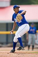 Burlington relief pitcher Jose Diaz (36) in action versus Kingsport at Burlington Athletic Park in Burlington, NC, Monday, July 30, 2007.