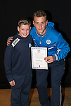 St Johnstone FC Academy Awards Night...06.04.15  Perth Concert Hall<br /> Ally Gilchrist presents a certificate to Sean Hastie<br /> Picture by Graeme Hart.<br /> Copyright Perthshire Picture Agency<br /> Tel: 01738 623350  Mobile: 07990 594431