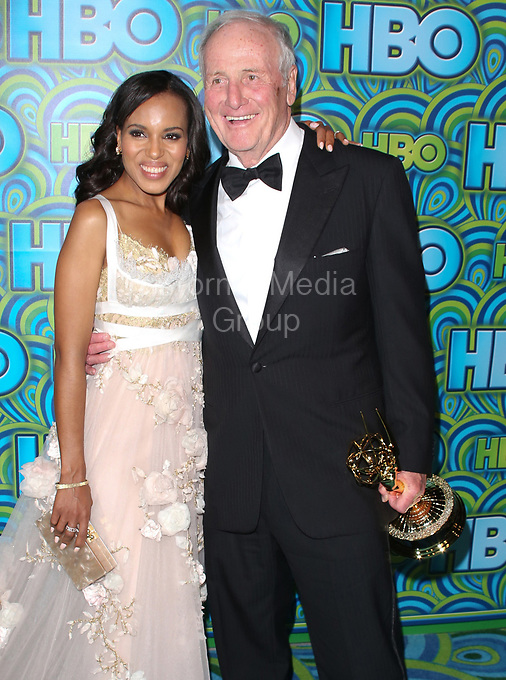 LOS ANGELES, CA - SEPTEMBER 22: Kerry Washington_Jerry Weintraub attends HBO's Annual Primetime Emmy Awards Post Award Reception at The Plaza at the Pacific Design Center on September 22, 2013 in Los Angeles, California.<br /> <br /> <br /> People:  Kerry Washington_Jerry Weintraub