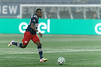 FOXBOROUGH, MA - SEPTEMBER 02: Cristian Penilla #70 of New England Revolution brings the ball forward during a game between New York City FC and New England Revolution at Gillette Stadium on September 02, 2020 in Foxborough, Massachusetts.