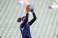 CARSON, CA - FEBRUARY 07: GK Stephanie Labbe #1 of Canada warming up during a game between Canada and Costa Rica at Dignity Health Sports Park on February 07, 2020 in Carson, California.