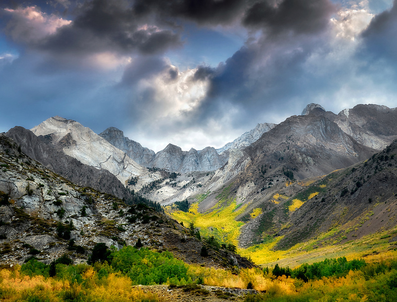 McGee Creek canyon with fall colored aspens. Inyo National forest. California