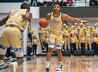 WASHINGTON, DC - FEBRUARY 8: Jameer Nelson Jr. #12 of George Washington directs a play during a game between Rhode Island and George Washington at Charles E Smith Center on February 8, 2020 in Washington, DC.