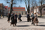 Kaunas Lithuania older men and women dancing  in the Town Hall Square. 2017 2010s,
