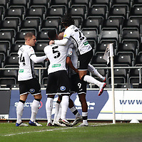 19th December 2020; Liberty Stadium, Swansea, Glamorgan, Wales; English Football League Championship Football, Swansea City versus Barnsley; Jamal Lowe of Swansea City celebrates with team mates after scoring his sides first goal making it 1-0 in the 2nd minute