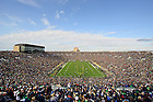 """Nov. 3, 2012; The Notre Dame Marching Band spells out """"ND"""" before the team takes the field at Notre Dame Stadium before the Pitt game, 2012...Photo by Matt Cashore/University of Notre Dame"""