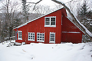 """New Hampshire Outing Club's """"Franky"""" cabin in Franconia Notch State Park of the White Mountains, New Hampshire USA during the winter months. The New Hampshire Outing Club owns this cabin and operates on a special use permit from the state of New Hampshire."""