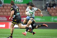 27th March 2021; Hamilton, New Zealand;  Caleb Clarke skips tackles.<br /> Chiefs versus Blues, Super Rugby  AOTEAROA, FMG Waikato Stadium, Hamilton, New Zealand. 26 March 2021.