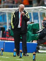 Spain coach Vicente Del Bosque shows a look of dejection