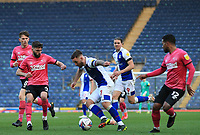 16th April 2021; Ewood Park, Blackburn, Lancashire, England; English Football League Championship Football, Blackburn Rovers versus Derby County; Adam Armstrong of Blackburn Rovers takes on Graeme Shinnie and Nathan Byrne of Derby County