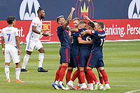 CHICAGO, UNITED STATES - AUGUST 25: Fabian Herbers #21 of Chicago Fire celebrates his goal with teammates during a game between FC Cincinnati and Chicago Fire at Soldier Field on August 25, 2020 in Chicago, Illinois.