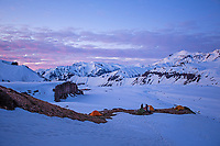 Stunning sunset views surrounding the basecamp, Valle des los Condores, Chile