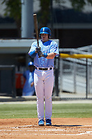 Michael Emodi (29) of the Burlington Royals prepares to step up to the plate during the game against the Greeneville Reds at Burlington Athletic Stadium on July 8, 2018 in Burlington, North Carolina. The Royals defeated the Reds 4-2.  (Brian Westerholt/Four Seam Images)
