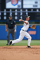 Wake Forest Demon Deacons shortstop Bruce Steel (17) makes a throw to first base against the Florida Gators in the completion of Game Two of the Gainesville Super Regional of the 2017 College World Series at Alfred McKethan Stadium at Perry Field on June 12, 2017 in Gainesville, Florida. The Demon Deacons walked off the Gators 8-6 in 11 innings. (Brian Westerholt/Four Seam Images)