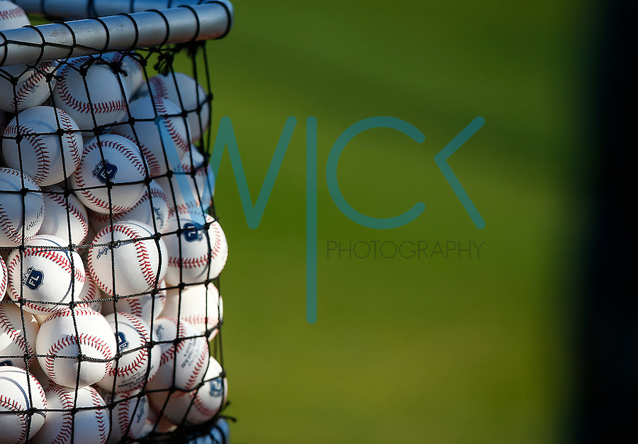 A mesh bag of balls is shown during spring training at Pirate City in Bradenton, Florida on February 18, 2016. (Photo by Jared Wickerham / DKPS)