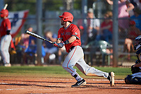 Ball State Cardinals third baseman William Baker (32) bats during a game against the Mount St. Mary's Mountaineers on March 9, 2019 at North Charlotte Regional Park in Port Charlotte, Florida.  Ball State defeated Mount St. Mary's 12-9.  (Mike Janes/Four Seam Images)