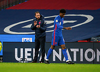 England manager Gareth Southgate applauds Marcus Rashford (Manchester United) of England during the UEFA Nations League match played behind closed doors due to the current government Covid-19 rules within sports venues between England and Denmark at Wembley Stadium, London, England on 14 October 2020. Photo by Andy Rowland.