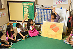 Education Preschool 4-5 year olds circle time science discussion female teacher with drawing chart of butterfly anatomy asking question and raising hand to demonstrate turn taking, Head Start program