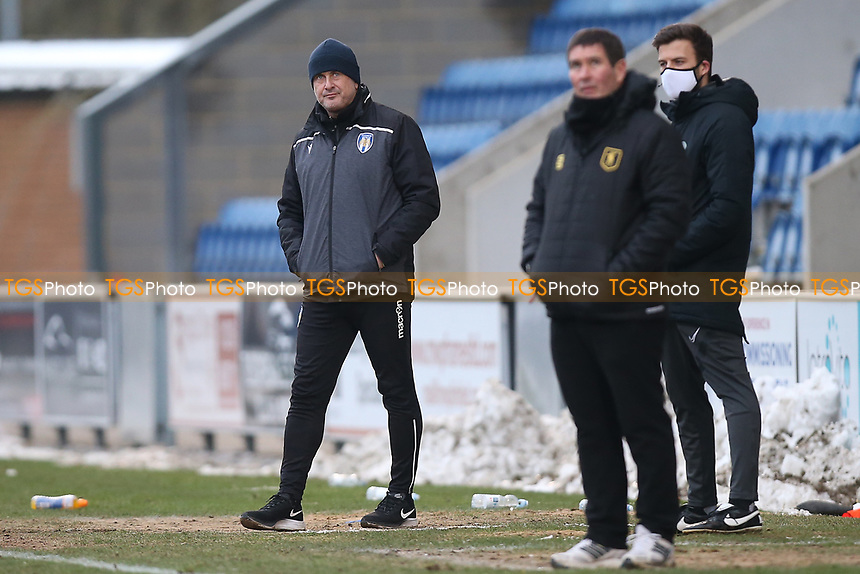 Colchester United manager Steve Ball during Colchester United vs Mansfield Town, Sky Bet EFL League 2 Football at the JobServe Community Stadium on 14th February 2021