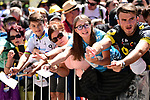 Big crowds at sign on before Stage 5 of the 2019 Tour de France running 175.5km from Saint-Die-des-Vosges to Colmar, France. 10th July 2019.<br /> Picture: ASO/Alex Broadway | Cyclefile<br /> All photos usage must carry mandatory copyright credit (© Cyclefile | ASO/Alex Broadway)