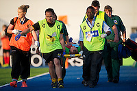 20130803 Copyright onEdition 2013 ©<br />Free for editorial use image, please credit: onEdition.<br /><br />Ross Chisholm of Harlequins 7s is stretchered off during the J.P. Morgan Asset Management Premiership Rugby 7s Series.<br /><br />The J.P. Morgan Asset Management Premiership Rugby 7s Series kicks off for the fourth season on Thursday 1st August with Pool A at Kingsholm, Gloucester with Pool B being played at Franklin's Gardens, Northampton on Friday 2nd August, Pool C at Allianz Park, Saracens home ground, on Saturday 3rd August and the Final being played at The Recreation Ground, Bath on Friday 9th August. The innovative tournament, which involves all 12 Premiership Rugby clubs, offers a fantastic platform for some of the country's finest young athletes to be exposed to the excitement, pressures and skills required to compete at an elite level.<br /><br />The 12 Premiership Rugby clubs are divided into three groups for the tournament, with the winner and runner up of each regional event going through to the Final. There are six games each evening, with each match consisting of two 7 minute halves with a 2 minute break at half time.<br /><br />For additional images please go to: http://www.w-w-i.com/jp_morgan_premiership_sevens/<br /><br />For press contacts contact: Beth Begg at brandRapport on D: +44 (0)20 7932 5813 M: +44 (0)7900 88231 E: BBegg@brand-rapport.com<br /><br />If you require a higher resolution image or you have any other onEdition photographic enquiries, please contact onEdition on 0845 900 2 900 or email info@onEdition.com<br />This image is copyright the onEdition 2013©.<br /><br />This image has been supplied by onEdition and must be credited onEdition. The author is asserting his full Moral rights in relation to the publication of this image. Rights for onward transmission of any image or file is not granted or implied. Changing or deleting Copyright information is illegal as specified in the Copyright, Design and Patents Act 1988. If you