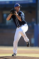 Asheville Tourists pitcher Ryan Arrowood #17 delivers a pitch during the completion of a rain shortened game against the West Virginia Power at McCormick Field on April 12, 2013 in Asheville, North Carolina. The Power won the game 11-4. (Tony Farlow/Four Seam Images).