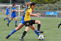 Olivia Ingham of Capital competes for the ball with Katie Barrott of Capital during the Handa Women's Premiership - Capital Football v Southern United at Petone Memorial Park, Wellington on Saturday 7 November 2020.<br /> Copyright photo: Masanori Udagawa /  www.photosport.nz