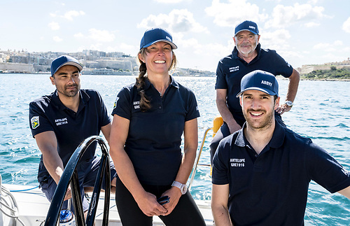 Susan Glenny (pictured centre) will skipper XP44 Antelope in Saturday's Middle Sea Race. Her crew includes sailors from the Club Swan 50 and Maxi class and is competing in IRC 4 division