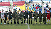 MONTERÍA - COLOMBIA ,05-10-2019:la División Mayor del Fútbol Colombiano DIMAYOR, rendio un sentido reconocimiento al Ejército Nacional en conmemoración a los 209 años de historia. Acción de juego entre los equipos  Jaguares de Córdoba y Once Caldas durante partido por la fecha 15 de la Liga Águila II 2019 jugado en el estadio Municipal Jaraguay de Montería . /<br /> the DIMAYOR Colombian Soccer Major Division, gave a great recognition to the National Army in commemoration of the 209 years of historyAction game between teams  Jaguares of Cordoba and Once Caldas during the match for the date 15 of the Liga Aguila II 2019 played at Municipal Jaraguay Satdium in Monteria City . Photo: VizzorImage / Contribuidor.