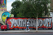 YOUTH STAND UP, VOTE CORBYN.  Street art wall-painting, Camden Town, London.