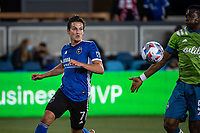 SAN JOSE, CA - MAY 12: Carlos Fierro #7 of the San Jose Earthquakes watches the ball during a game between San Jose Earthquakes and Seattle Sounders FC at PayPal Park on May 12, 2021 in San Jose, California.