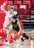 COLLEGE PARK, MD - DECEMBER 8: Faith Masonius #13 of Maryland defends against Stephanie Karcz #10 of Loyola during a game between Loyola University and University of Maryland at Xfinity Center on December 8, 2019 in College Park, Maryland.