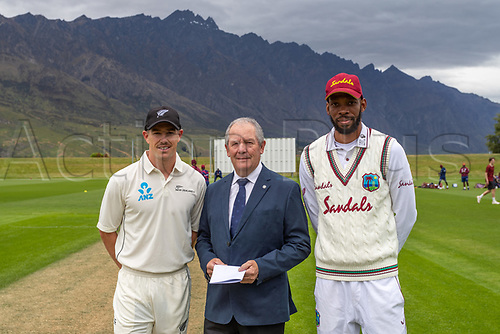 20th November 2020; John Davies Oval, Queenstown, Otago, South Island of New Zealand. Cole McConchie and Roston Chase are pictured as New Zealand A versus  West Indies