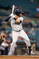 Pawtucket Red Sox outfielder Bryce Brentz #25 at bat during game three of a best of five playoff series against the Empire State Yankees at Frontier Field on September 7, 2012 in Rochester, New York.  Empire State defeated Pawtucket 4-3 to send the series to game four as Pawtucket leads two games to one.  (Mike Janes/Four Seam Images)