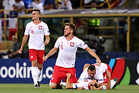 Players of Poland celebrate the victory at the end of the match <br /> Bologna 19/06/2019 Stadio Renato Dall'Ara  <br /> Football UEFA Under 21 Championship Italy 2019<br /> Group Stage - Final Tournament Group A<br /> Italy - Poland <br /> Photo Cesare Purini / Insidefoto