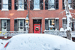 A snowbound car on Beacon Hill, Boston, Massachusetts, USA