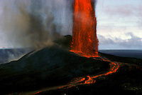 Lava fountain erupting from Puu Oo vent, Kilauea Volcano, Hawaii Volcanoes National Park