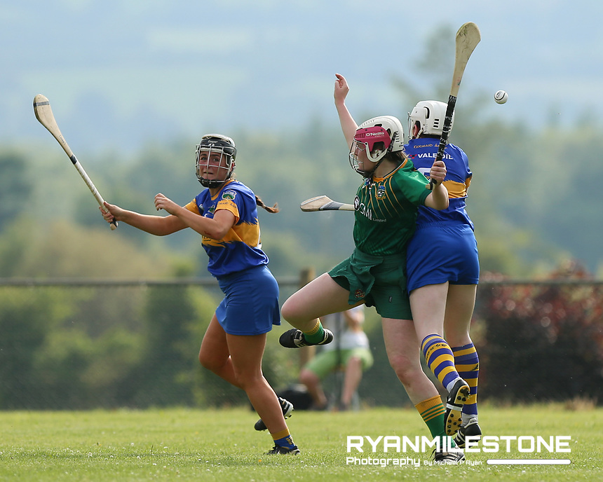 Tipperary's Laura Loughnane and Gemme Grace in action against Meath's Ellen Burke during the Liberty Insurance All Ireland Senior Camogie Championship Round 1 between Tipperary and Meath at the Ragg, Co Tipperary. Photo By Michael P Ryan.