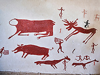 Recontructed fresco of an original hunting scene found at Catalhoyuk. Reconstructed houses, Catalyhoyuk Archaeological Site, Çumra, Konya, Turkey
