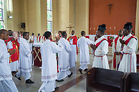 Nigeria. Enugu State. Enugu. Catholic church. Bigard Memorial Seminary is the largest seminary in Africa. Morning mass marking the end of the  2018 / 2019 Academic and Formation Year. Some seminarians were the biretta which is a square cap with three or four ridges or peaks, sometimes surmounted by a tuft, traditionally worn by Roman Catholic clergy.  Bigard Memorial Seminary was composed in 2019 by 63 members of academic staff (22 resident as priest-formators and 46 part-time) and 832 students. The seminary had over the years produced 3 Cardinals, 13 Archbishops, 32 Bishops and numerous priests. Theology is the systematic study of the nature of the divine and, more broadly, of religious belief. Enugu is the capital of Enugu State, located in southeastern Nigeria. 29.06.19 © 2019 Didier Ruef