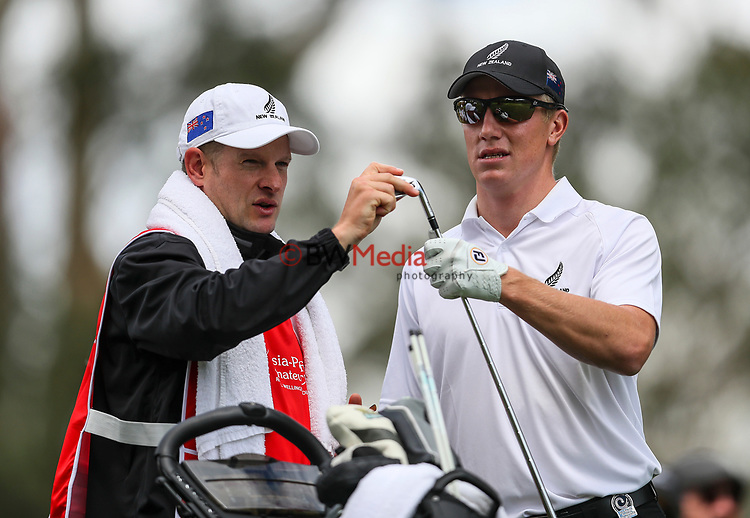 James Anstiss of New Zealand during the Asia Pacific Amateur Golf Championship Round Two, Royal Wellington Golf Course, Wellington, New Zealand, 27 October2017.  Photo: Simon Watts/www.bwmedia.co.nz