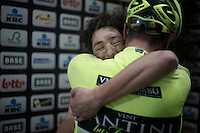 Dwars Door Vlaanderen 2013.Kevin Hulsmans (BEL) giving teammate & winner Oscar Gatto (ITA) a hug