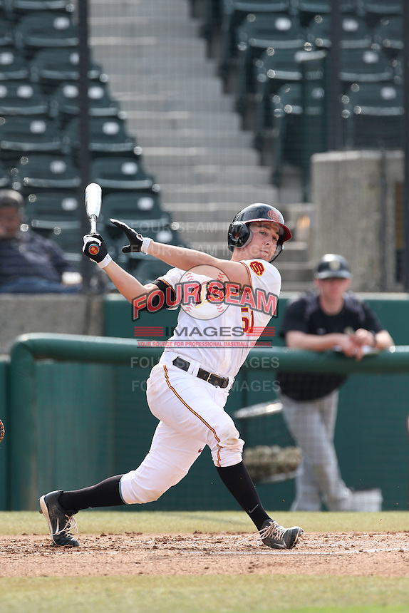 Garrett Stubbs (51) of the Southern California Trojans bats during a game against the Oakland Grizzlies at Dedeaux Field on February 21, 2015 in Los Angeles, California. Southern California defeated Oakland, 11-1. (Larry Goren/Four Seam Images)