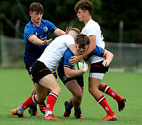 Saturday 5th September 2021<br /> <br /> Daniel Lane is tackled by Ross McKay and Josh Drain during U19 inter-pro between Ulster Rugby and Leinster at Newforge Country Club, Belfast, Northern Ireland. Photo by John Dickson/Dicksondigital